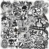 WYZNB Pegatinas de graffiti para maleta, guitarra, 50 unidades, en blanco y negro