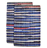 Cotton Craft - 2 Pack Hand Woven Reversible 100% Cotton Multi Color Chindi Rag Rug - 20 x 32 - Rug is made from multi color re-cycled yarns, actual product may vary in color from the image shown