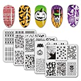 BEAUTYBIGBANG 5Pcs Nail Stamping Square Plate Halloween Theme - Bat Spider Ghost Emotion Image Plates Nail Art Design Stamp Kit Manicure Tools