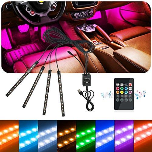 Idefair (TM), striscia LED luminosa, luce interna multicolore impermeabile, per cruscotto auto, kit illuminazione per camion, moto camion con funzione di rilevamento del suono e telecomando wireless