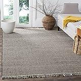 Safavieh Montauk Collection MTK340D Handmade Flatweave Cotton Area Rug, 6' x 9', Ivory / Black