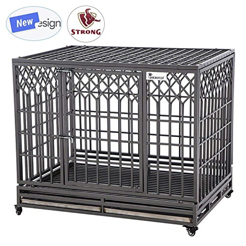 SMONTER 46' Heavy Duty Dog Crate Strong Metal Pet Kennel Playpen with Two Prevent Escape Lock, Large Dogs Cage with Wheels, Y Shape, Dark Silver …