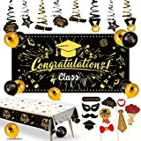 Graduation Decorations 2021 Black and Gold Party Decorations 53pcs Graduation Backdrop-Sparkling Graduation Balloons-Party Tablecloth-Party Photo Props-Hanging Swirls Party Graduation Party Supplies