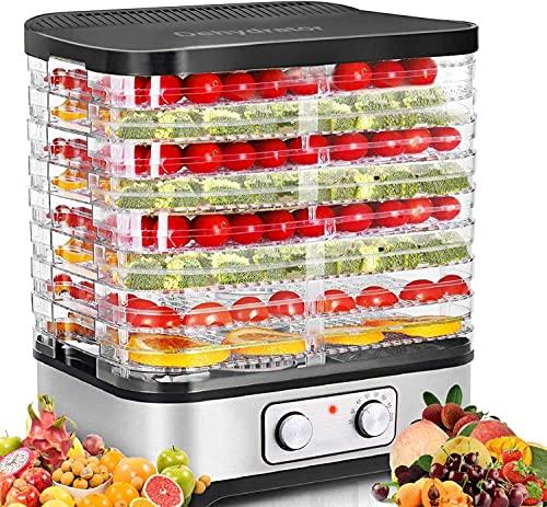 COOCHEER Essiccatori per Alimenti, Temperatura Regolabile da 35-70, Essiccatore frutta e verdura, 8 Pallet, 400W