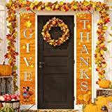Fecedy 72'x12' GIVE THANKS Hanging Banner Porch Sign Autumn Pumpkin Maple Leaf Backdrop Flag Fall Harvest Welcome Banner For Home Yard Indoor Outdoor Wall Door Thanksgiving Party Decorations