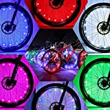 DAWAY Led Bike Wheel Lights - A01 Waterproof Bright Bicycle Light Strip (1 Tire, Colorful), Safety Spoke Lights, Cool Girls Boys Kids Bike Accessories, Light Up Wheels, with Battery