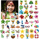 Konsait Summer Beach Pool Hawaiian Luau Themed Temporary Tattoos for Kids and Adults, 96 Assorted Tropical Tattoos, Tropical Party Decoration Supplies, Kids Birthday Party Bag Filler, Party Favors