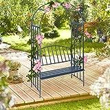 Relaxdays Rosenbogen mit Bank, robustes Metall, 2-Sitzer Deko-Gartenbank, Rankhilfe, HxBxT: 205 x 115 x 50 cm, Anthrazit - 2