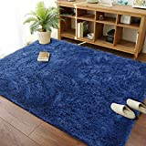 Modern Soft Fluffy Large Shaggy Rug for Bedroom Livingroom Dorm Kids Room Indoor Home Decorative, Non-Slip Plush Furry Fur Area Rugs Comfy Nursery Accent Floor Carpet 4x6 Feet, Navy Blue