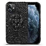 鰐 柄 型押し 牛革クロコダイル柄 iPhone12 Pro Max ケース 本革 嵌め込み レザーケース クロ……