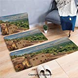 FashSam 3 Piece Non Slip Flannel Door Mat Sunset Rural Landscape Cypresses Forest Hills Greenery Blue Sky Clouds Indoor Carpet for Bath Kitchen(W15.7xL23.6 by W19.6xL31.5 by W15.7xL39.4)