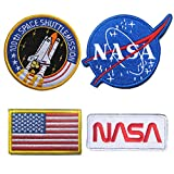WZT 4 Pcs Iron on or Sew on Tactical Flag Patch - Combination USA NASA Patch Embroidered Morale Lot Military Embroidered Patches