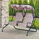Outsunny 2-Sitzer Hollywoodschaukel Gartenschaukel mit Sonnendach - 2