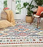 Nourison Tribal Decor Traditional Colorful White Area Rug 5 Feet 3 Inches by 7 Feet 6 Inches, 5'3'X7'6'