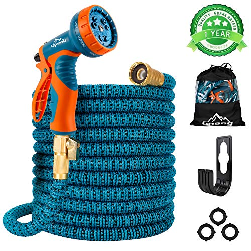 Gpeng Sunhoo 50ft Expandable Garden Hose, Upgraded Water Collapsible Hose with 9 Function Spray Nozzle, Durable 3-Layers Latex Core with 3/4' Solid Brass Fittings, Lightweight Expanding Flexible Hose