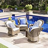 Christopher Knight Home Linsten Outdoor Brown Wicker Swivel Club Chairs with Ceramic Grey Water Resistant Cushions (Set of 4)