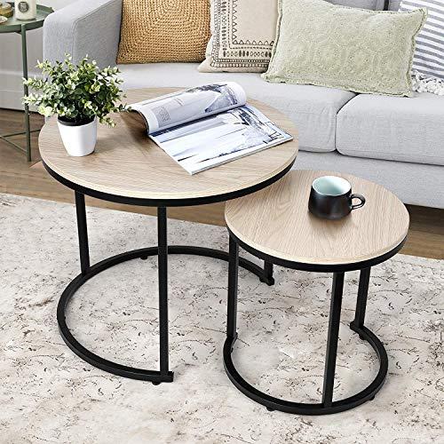 Table Basse amzdeal pour Salon, Ensemble de 2 Tables Basses gigognes, Montage Stable et Facile (Couleur du Bois)