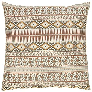 "Made in USA and imported Patterned woven stripe brings a unique, southwester flair to your space in soft, earthy tones. Back of pillow is solid taupe-colored fabric. Hidden zipper at bottom of pillow. 20""L x 20""W Pillow cover and insert Spot clean. P..."
