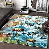Well Woven Bliss Blue & Green Modern Floral 8x10 (7'10' x 9'10') Area Rug