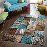 Paco Home Area Rug for Living Room in Brown Cream Turquoise Checked Modern Style Good Value, Size:3'11' x 5'7'