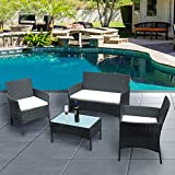 Luckycloud 4 Pieces Outdoor Patio Furniture Sets Rattan Wicker Chair Set with Cushion Coffee Table for Lawn Garden Porch Pool Courtyard Backyard Black