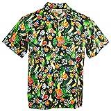 Funny Guy Mugs Mens Cat Hawaiian Print Button Down Short Sleeve Shirt, Large