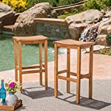 Christopher Knight Home Caribbean Outdoor 30' Acacia Wood Barstools, 2-Pcs Set, Natural Stained