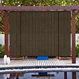 Patio Paradise Roll up Shades Roller Shade 7'Wx6'H Outdoor Shade Blind Pull Shade Privacy Screen Porch Deck Balcony Pergola Trellis Carport Brown