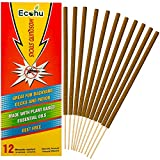 ECOHU Mosquito Repellent - 12 Sticks - All Natural Insect Repellent Incense Sticks - Eco Friendly - Bamboo Infused with Lemongrass and Grapefruit Peel
