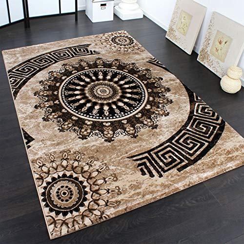 Paco Home Tappeto Classico Lavorato Cerchio Ornamenti Marrone Beige Nero Screziato, Dimensione:80x150 cm