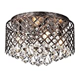 Edvivi 4-Light Lattice Antique Copper and Crystal Flushmount Chandelier | Glam Lighting