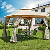 AECOJOY 10 x 10ft Outdoor Gazebo Tent with Mosquito Netting, 2-Tier Waterproof Garden Gazebo Canopy Shelter with Vented Top for Patio, Deck and Backyard, Beige