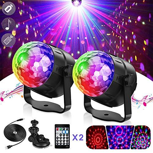 Icnow 2PZ Luci Discoteca LED Palco,15 Colori Mini Luci Stroboscopica Rotanta Musica Attivata,Luci DJ...