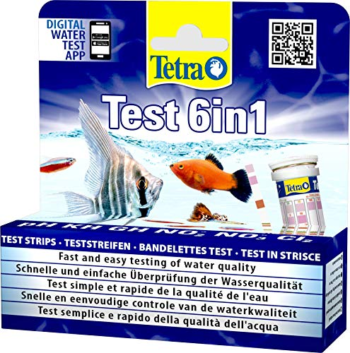 Tetra Test 6in1 - Wassertest für das Aquarium, schnelle und einfache Überprüfung der Wasserqualität, 1 Dose (25 Teststreifen)