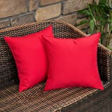 MIULEE Pack of 2 Decorative Outdoor Waterproof Pillow Covers Square Garden Cushion Sham Throw Pillowcase Shell for Patio Tent Couch Christmas 18x18 Inch Red