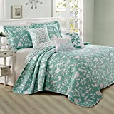 Home Soft Things Birdsong Bedspread Set, 122' x 106', Teal/Turquoise
