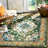 Safavieh Monaco Collection MNC243F Bohemian Chic Medallion Distressed Area Rug, 4' x 5' 7', Forest Green/Light Blue