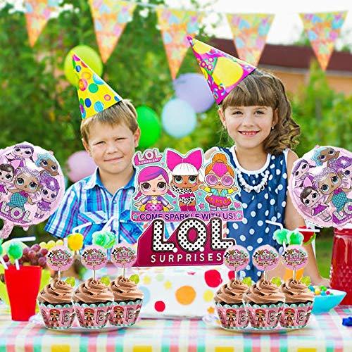 Image 5 - REYOK LOL Cake Topper+Surprise Poupée Feuille Ballon,LOL Double Face Gâteau Topper avec Bord de Gâteau(29 pièces),LOL Joyeux Anniversaire Fête Fournitures pour Enfants Décor