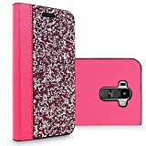 LG G Stylo Case, LS770 Case, Cellularvilla [Diamond] Luxury Rock Crystal Rhinestone Pu Leather Wallet Case with Card Slots Flip Protective Cover For LG G Stylo / LG G Stylus / LS770 (Hot Pink Silver)
