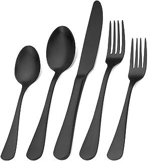 Matte Black Silverware Set, Satin Finish 20-Piece Stainless Steel Flatware Set,Kitchen..