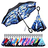 Owen Kyne Windproof Double Layer Folding Inverted Umbrella, Self Stand Upside-Down Rain Protection Car Reverse Umbrellas with C-Shaped Handle (Starry Sky 3)
