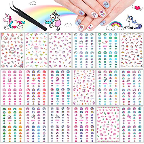 18 Sheets Unicorn Nail Stickers Rainbow Unicorn Heart Star Nail Sticker Self-adhesive Nail Toe Manicure Tip Decorations Designs with Tweezers for Kids Girls Christmas DIY Nail Art Decoration