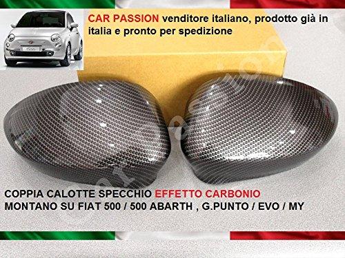 Coppia Calotte Specchio Carbon look Effetto Fibra di Carbonio coprispecchietti retrovisori tuning dx sx