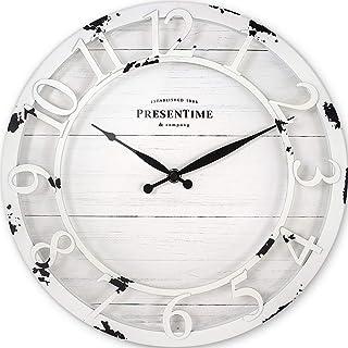"PresenTime & Co 13"" Farmhouse Series Wall Clock, Quartz Movement, Shiplap Style,.."