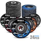 SHALL 24-Pack Flap Disc, 4-1/2' x 7/8', Zirconia Grinding Wheel 40/60/80/120 Grit T29 & 40 Grit T27 Angle Grinder Abrasive Sanding Disc with Etched Grit Number Indication, 80pcs Emery Cloth Per Disc