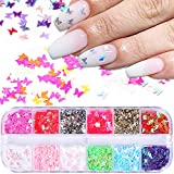 12 Colors Butterfly Glitter Nail Sequins Holographic 3D Nail Art Flakes Colorful Confetti Glitter Sticker,Nail Art Design Makeup DIY Decoration Kit,Nail Sequins for Face Body Eye Hair