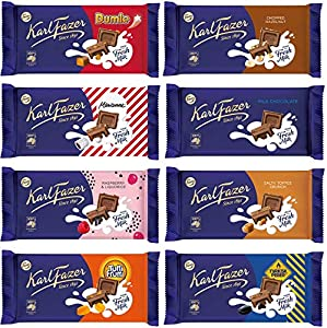 Karl Fazer Chocolate 145g (Pack of 10) - Pick Any 10 bars from 8 Flavors Dumle 145g, Chopped Hazelnuts 145g, Marianne 145,g Milk Chocolate 145g, Raspberry Liquorice 145g, Salty Toffee Crunch 145g, Tutti Frutti 145g, Tyrkisk Peber 145g