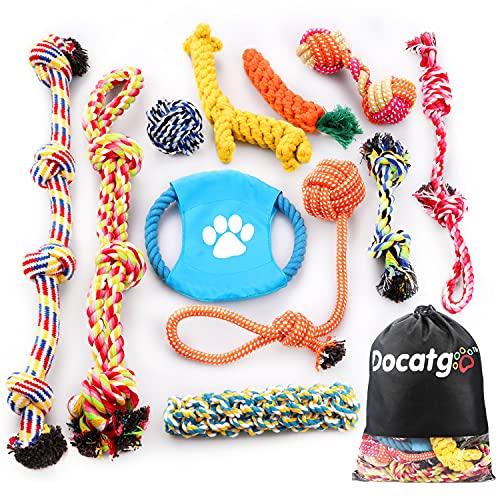 Docatgo Grupo de Juguetes para Perros Durable Masticable Cuerda...