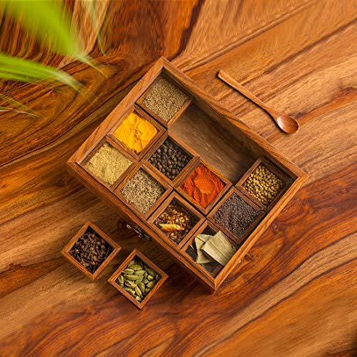 ExclusiveLane 'Twelve Blends' Spice Box With 12 Containers & Spoon In Sheesham Wood - Spice Box For Kitchen Indian...