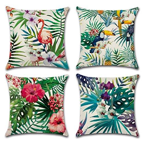 Gspirit 4 Pack Fenicottero Tropicale Fiore Le foglie Cotone Biancheria Cuscino Decorativo Caso...